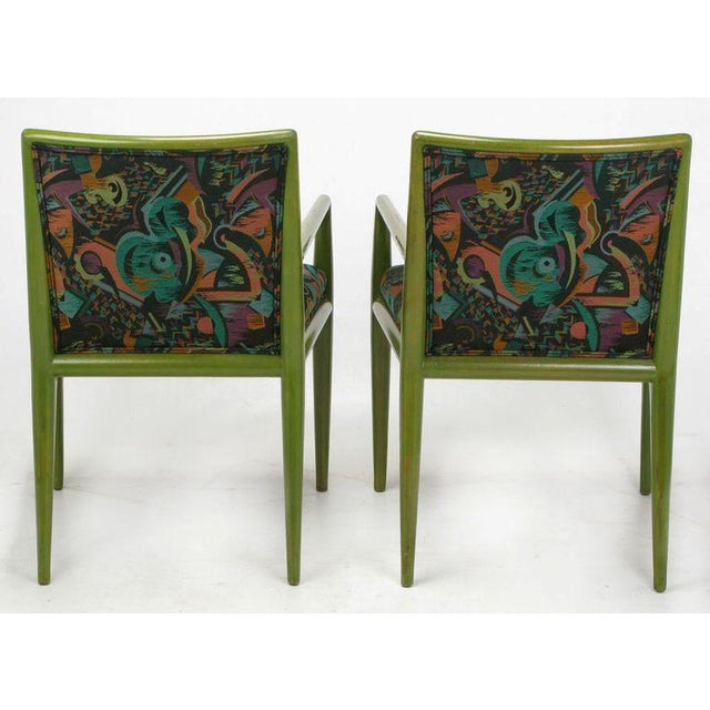 Textile Four T.H. Robsjohn-Gibbings Moss Green Walnut Arm Chairs For Sale - Image 7 of 10