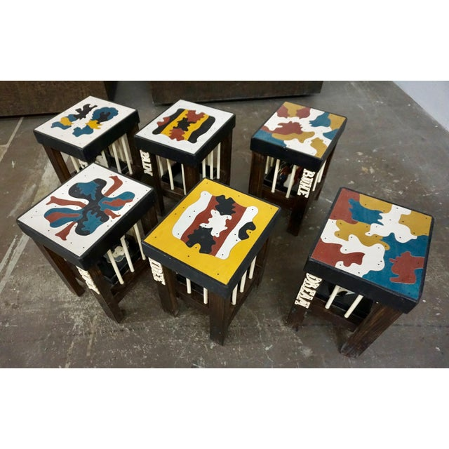 Blue Stools by Thorsten Passfeld- Set of 6 For Sale - Image 8 of 9