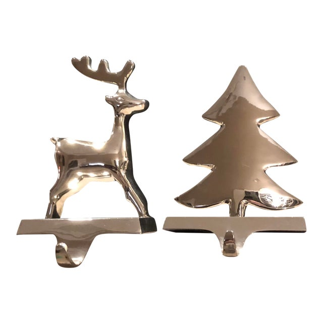 Vintage Silver Stocking Hooks Pottery Barn Hangers Snowman and Tree - Set of 2 For Sale