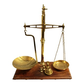 Mid 19th Century English Brass & Mahogany Scale by Bartlett & Son For Sale