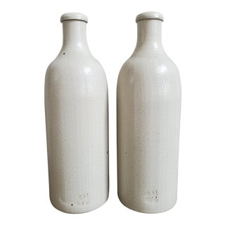 French Stoneware Vinegar Bottles - a Pair For Sale