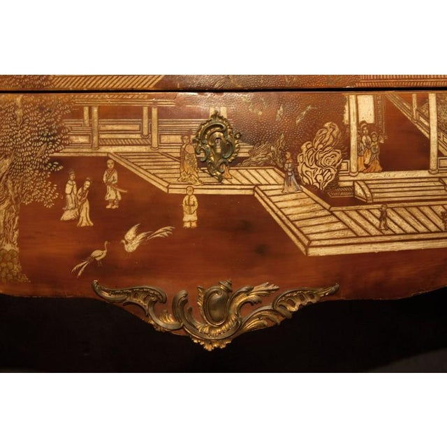 19th Century Louis XV Style Brown Lacquer Chinoiserie Bronze-Mounted Commode - Image 5 of 8
