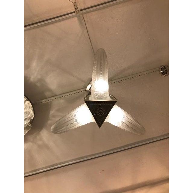 French Art Deco Triangular Starburst Chandelier For Sale - Image 9 of 12