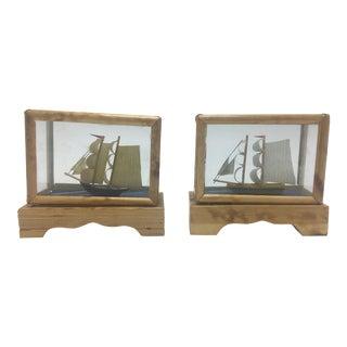 Miniature Ship Models, a Pair For Sale