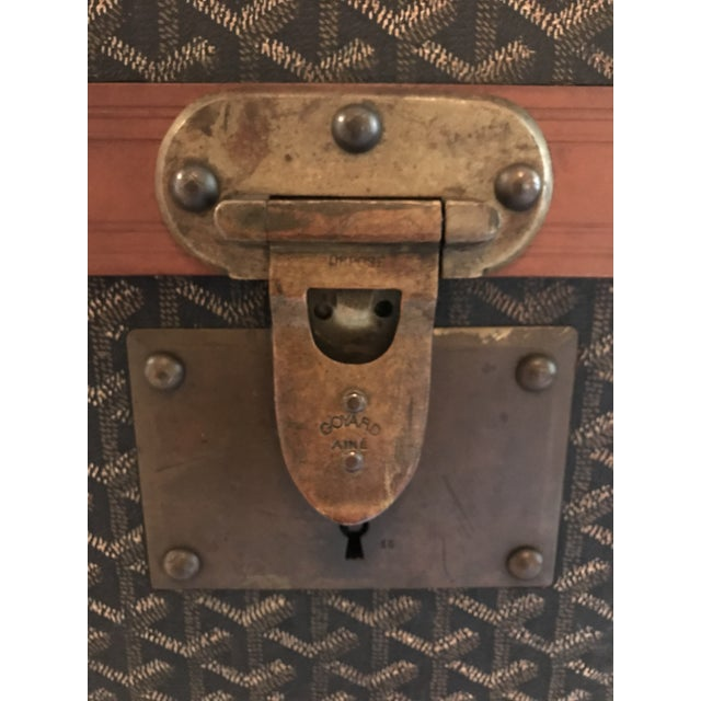 Canvas 1925 Antique Goyard Steamer Luggage Trunk For Sale - Image 7 of 13