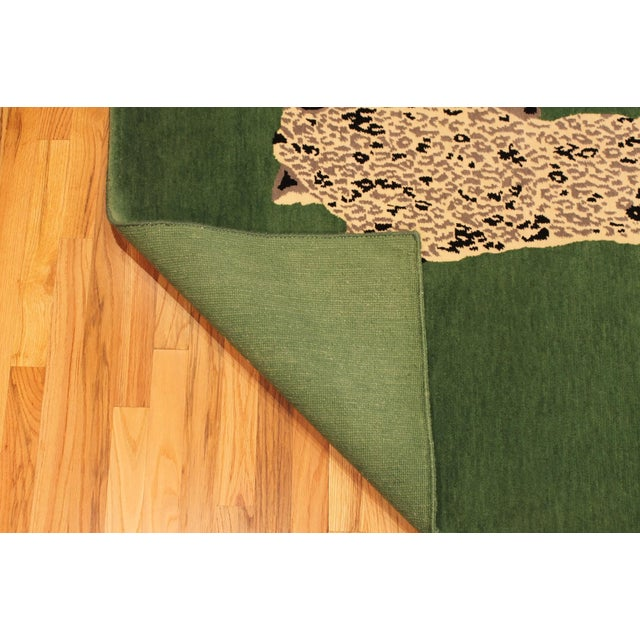Textile Green Gabeh Fine Leopard Hand Knotted Rug For Sale - Image 7 of 8
