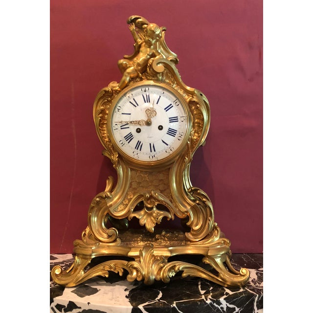Bronze Mid 19th Century Antique f.f. F. Barbedienne Louis XV Mantle Clock For Sale - Image 7 of 13