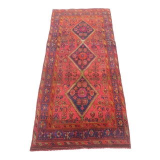 1940s Persian Hand Knotted Runner-4′4″ × 9′11″ For Sale
