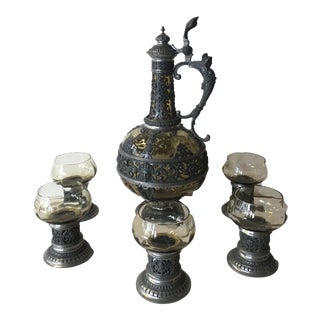 1920s Italian Wine Decanter & Glasses - Set of 6 For Sale