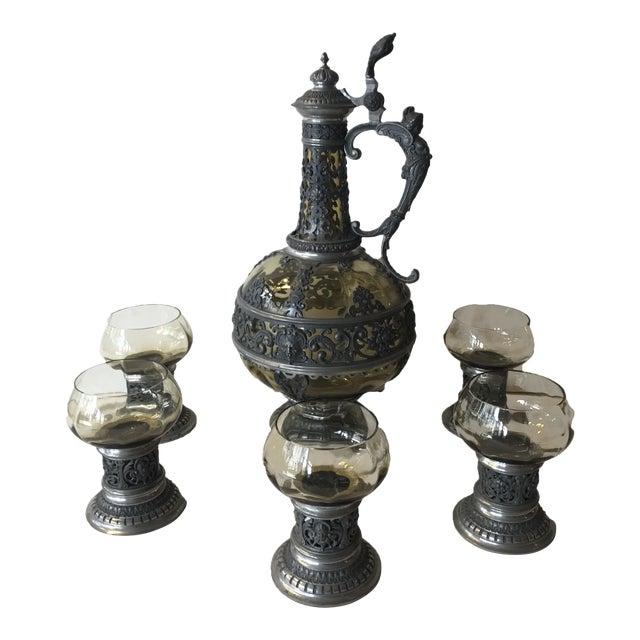 1920s Italian Wine Decanter & Glasses - Set of 6 For Sale