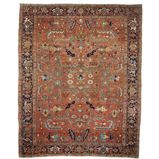 Vintage Mid-Century Persian Heriz Wool Rug - 9′2″ × 11′5″ For Sale