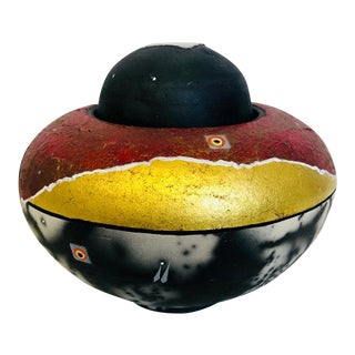 Gold Red Raku Bowl 1980 Robert Carlson For Sale