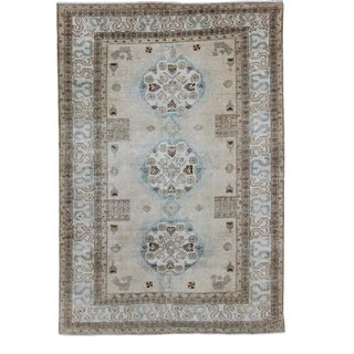 Antique Persian Tabriz Rug With Three Medallions in Muted Earth Tones and Light Blue For Sale