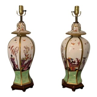 Chelsea House Asian Chinoiserie Temple Lamps - a Pair For Sale