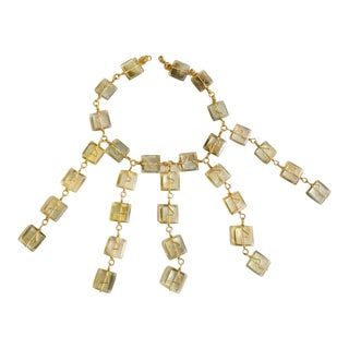 Extra Large Statement Piece Necklace With Gold Tone Acrylic Sqaures For Sale