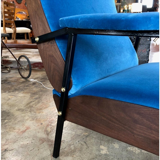 Blue Lounge Armchairs in Wood and Blue Suede, Italy 1950s - a Pair For Sale - Image 8 of 11