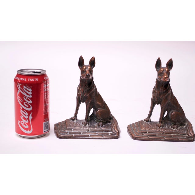 Arts & Crafts Pair of 1920s Art Colony Industries Cast Iron 'German Shepherd' Bookends For Sale - Image 3 of 13