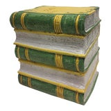 Image of Tromp l'Oeil Stack of Books Glazed Terracotta Italian Side Table Garden Seat For Sale
