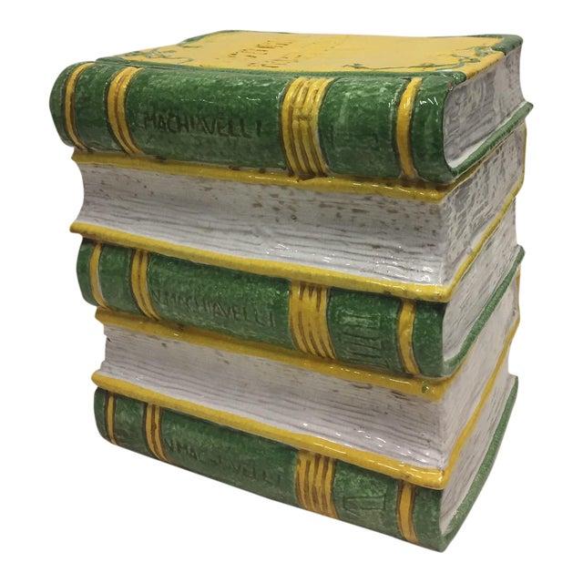 Tromp l'Oeil Stack of Books Glazed Terracotta Italian Side Table Garden Seat For Sale