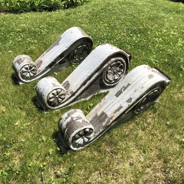 "Antique Victorian Era Large 30"" Zinc Distressed Decorative Corbels - Set of 3 For Sale - Image 13 of 13"