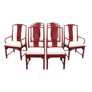 Chinoiserie Red Lacquered Dining Chairs - Set of 8 For Sale