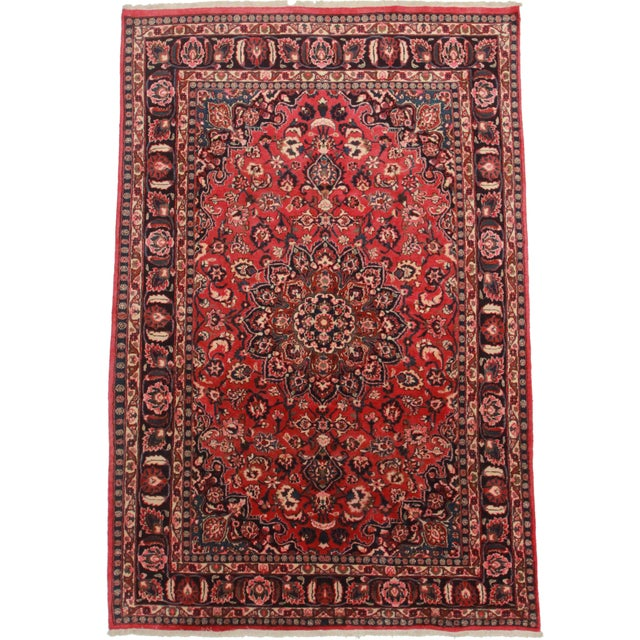 Hand Knotted Persian Mashad Rug - 6′4″ × 10′4″ For Sale