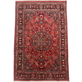 RugsinDallas Hand Knotted Persian Mashad Rug - 6′4″ × 10′4″ For Sale