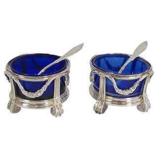 Pair French Silver Cobalt Open Salts, Paris For Sale