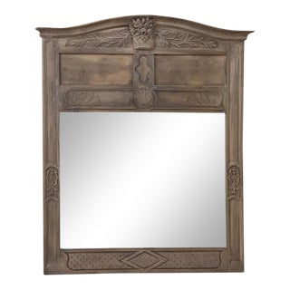 19th Century Country French Stripped Walnut Mirror For Sale