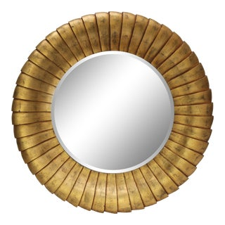 Contemporary Round Gold Mirror For Sale