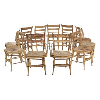 "American Sheraton ""Fancy"" Painted Dining Chairs, New York c. 1815-30, Set of 11 For Sale"
