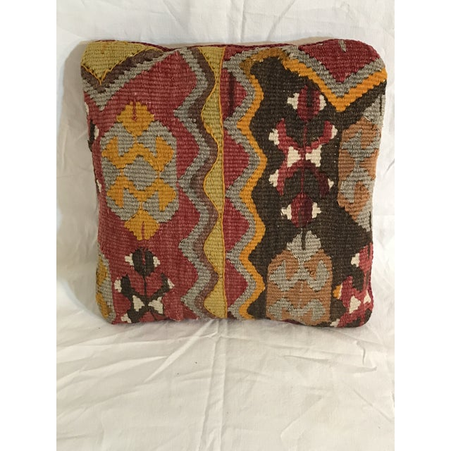 Antique Kirman Rug Fragment Pillow - Image 2 of 10