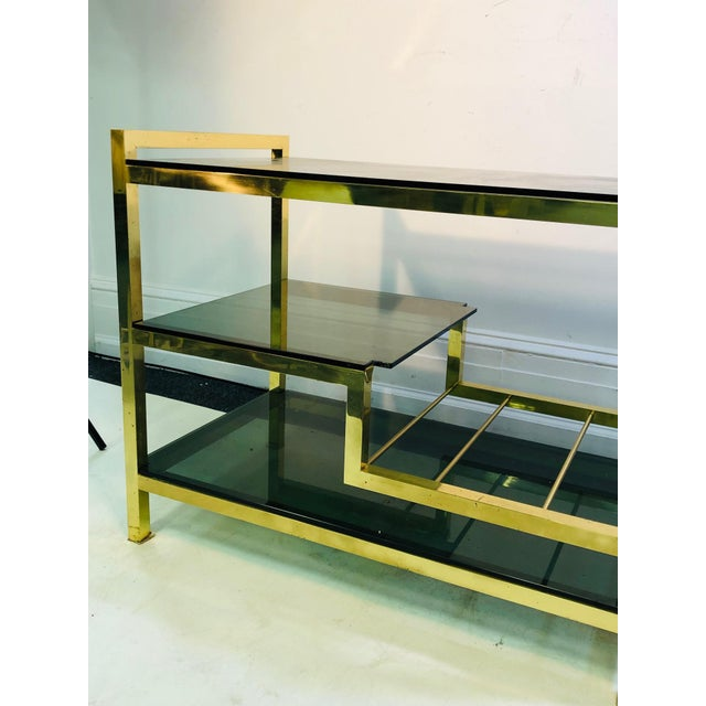 1970s Italian Brass Bar Cart With Smoke Glass Shelves For Sale - Image 9 of 10