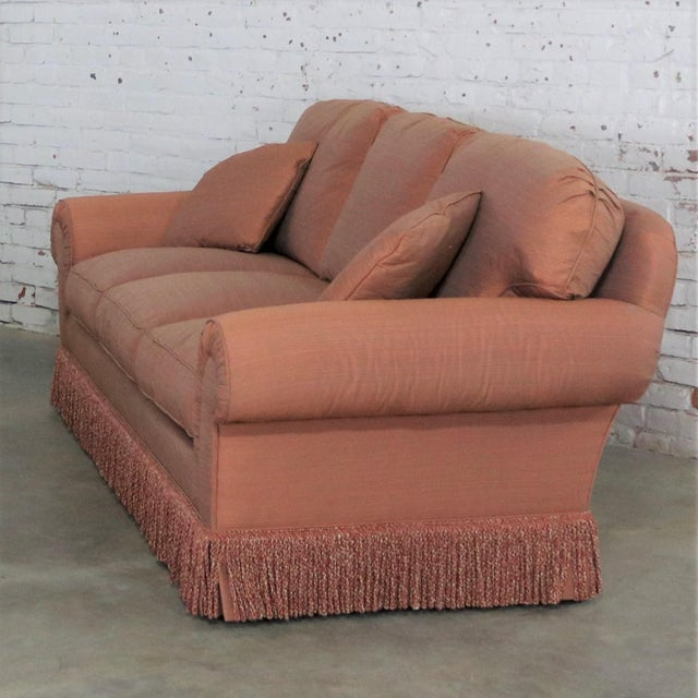 Late 20th Century Baker Sofa Lawson Style From the Crown and Tulip Collection Terracotta For Sale - Image 5 of 13