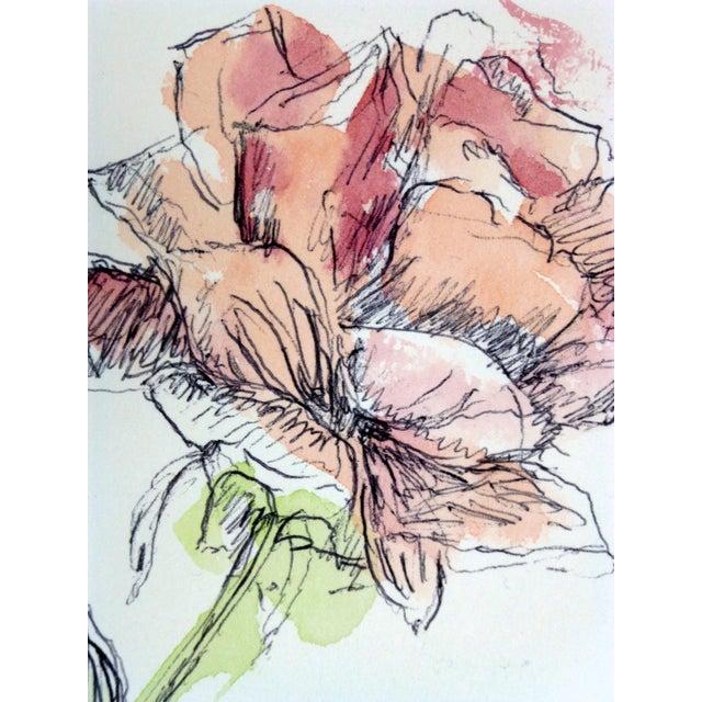 Vintage Watercolor Painting, Rose Stem - Image 2 of 3
