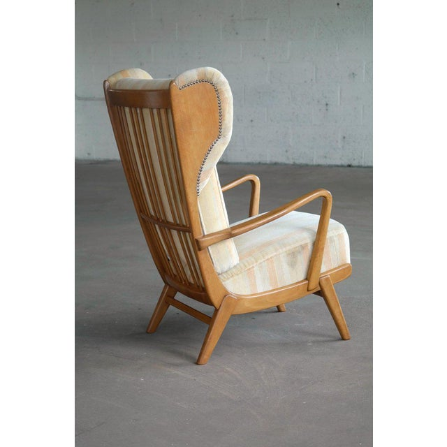 Danish Midcentury Wingback Lounge Chair With Exposed Sides For Sale - Image 12 of 13