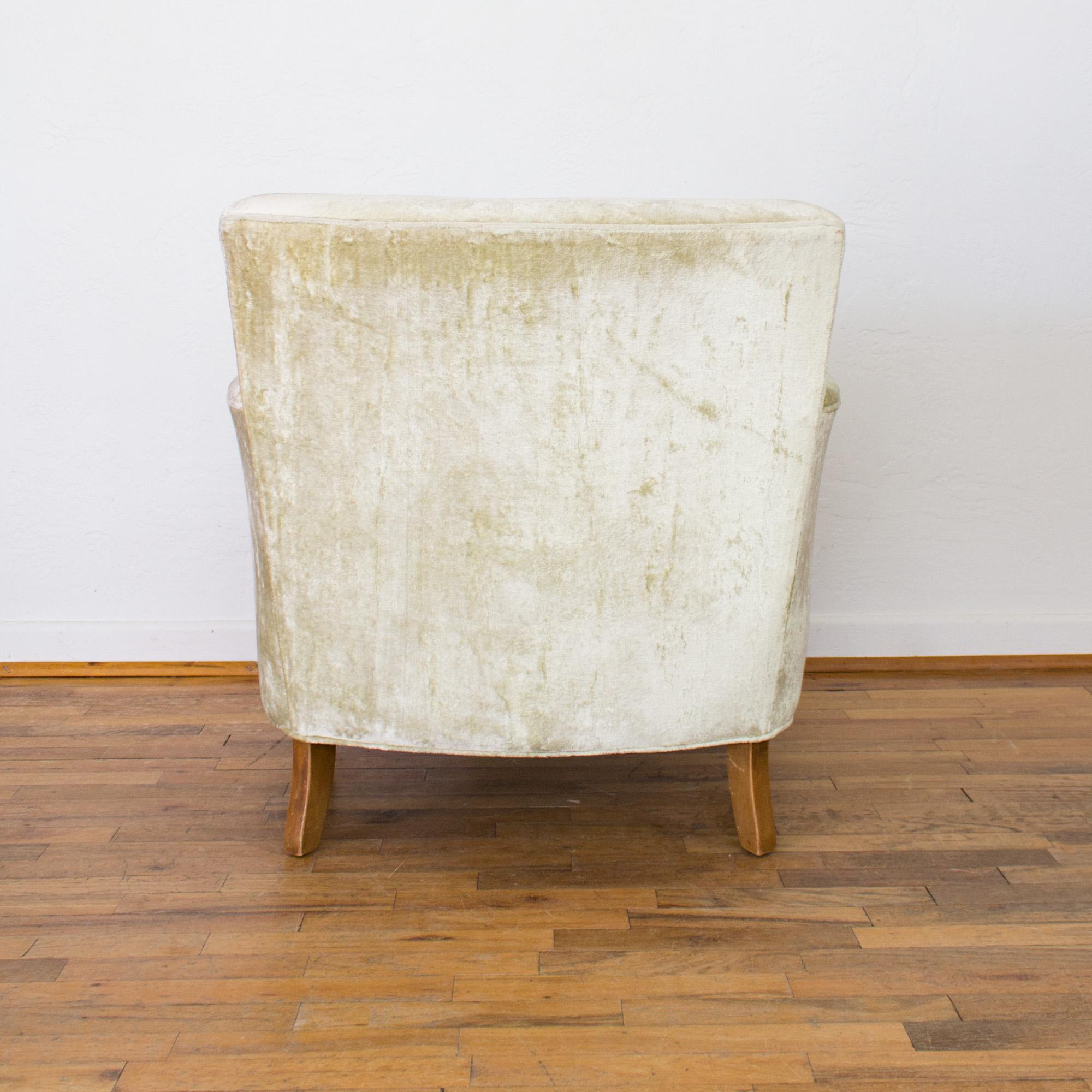 Mid Century Club Chair In Pale Green Velvet, Tufted Back Cushion And    Image 4