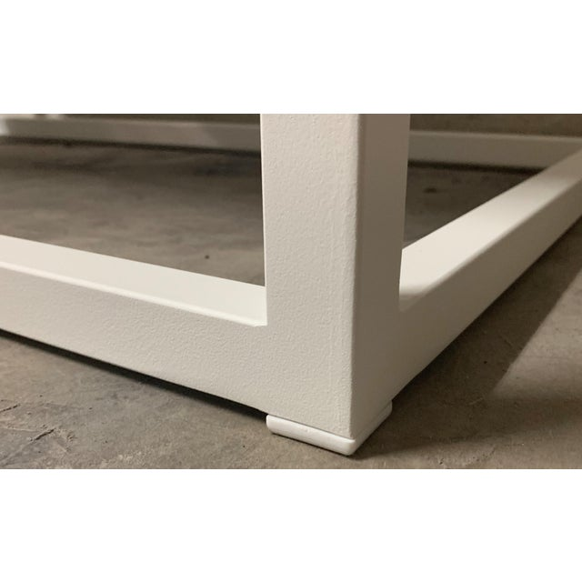 New Modern Rectangular White Table With Metal Top, Indoor or Outdoor For Sale - Image 9 of 12