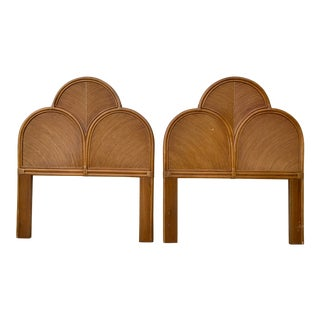 1970s Split Reed Rattan Twin Headboards in the Manner of Gabriella Crespi - a Pair For Sale