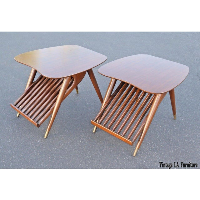 Danish Modern Magazine Rack Side Tables - A Pair - Image 2 of 11