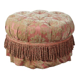 Baker Furniture Round Tufted Ottoman Traditional French Pouf Rolling Footstool For Sale