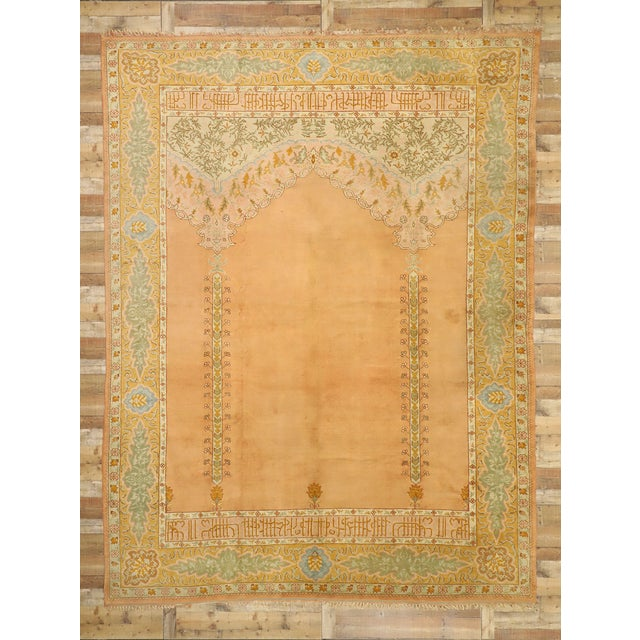 Salmon Late 19th Century Antique Turkish Oushak Rug - 10'09 X 13'03 For Sale - Image 8 of 10