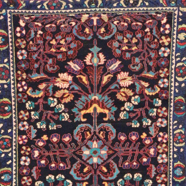 Blue Antique Persian Bakhtiari Runner with Modern Style in Vibrant Colors For Sale - Image 8 of 9