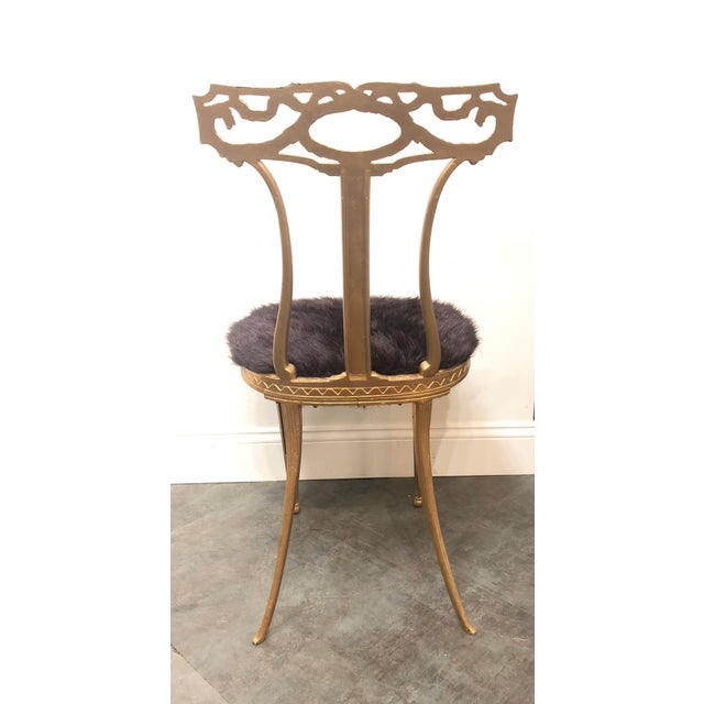 Metal 1950s Vintage Italian Neoclassical Style Gold Gilt Wrought Iron Accent Chair For Sale - Image 7 of 12