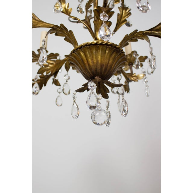 Italian Five Light Gold Leaf and Crystals Chandelier For Sale - Image 4 of 9