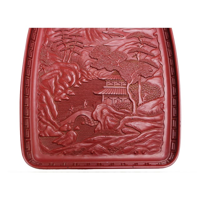 Red Japanese Tray - Pagoda Landscape Scene - Image 3 of 4