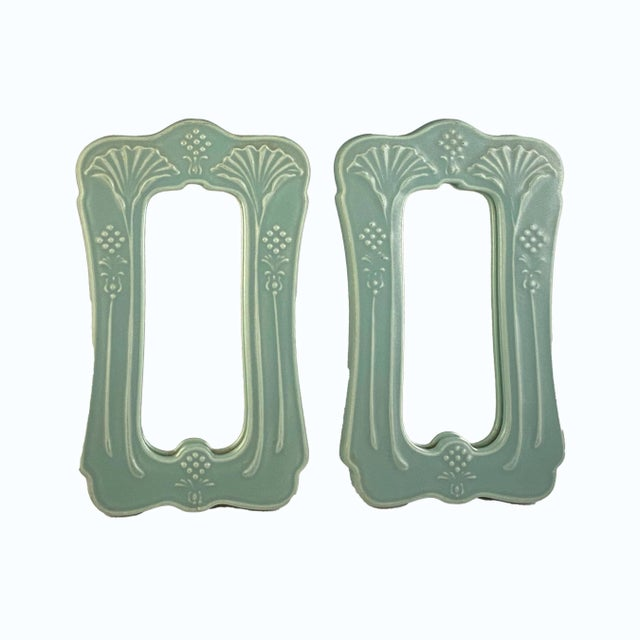Mid 20th Century Art Nouveau Mirrors by Crowning Touch Japan Celadon For Sale In Boston - Image 6 of 6