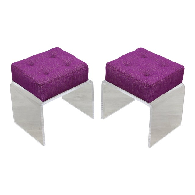 Pair of Waterfall Acrylic & Chenille Benches For Sale