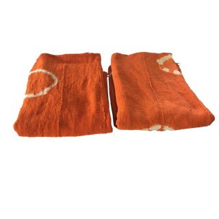 """African Bogolan Textile Mud Cloth Orange & White 44"""" by 60"""" S/2 For Sale"""