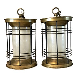 Mid-Century Hanging Brass Glass Pendant Lamps - a Pair
